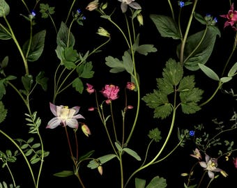 Dark botanical floral fabric for upholstery, soft furnishing, curtains and craft