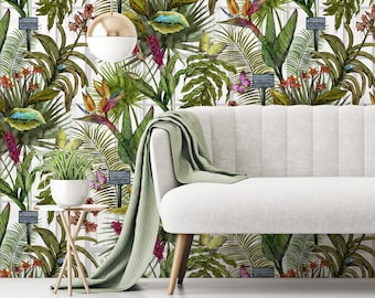 Tropical Glasshouse Wallpaper - Botanical Pattern with Palms, Insects and Greenhouse Windows
