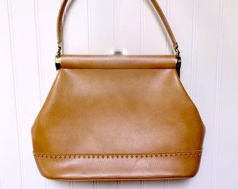 Big tan vegan bag, vintage vinyl purse, tan, JR handbag, 60s, kelly bag, vintage handbag, pocketbook