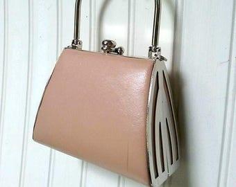 small purse, tiny handbag, tan, silver, Bijoux Terner rigid evening bag, tiny purse, tan purse, box purse