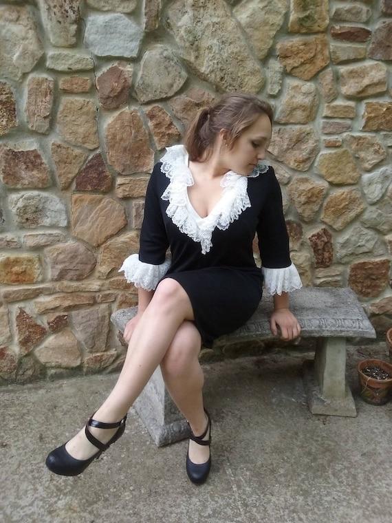 vintage 1960s black cocktail dress, Wednesday Adda