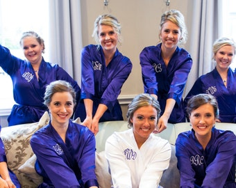 Bridesmaid Triple Monogram Robe with Custom Embroidery for Bridesmaid Robes.  Getting Ready Robes Bridesmaid Gifts - Satin Bride Robe 384c5548c