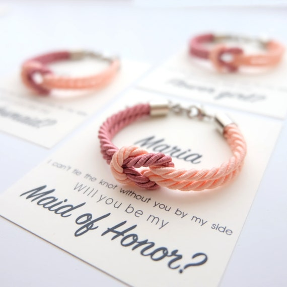 Bridesmaid Gift Tie the knot bracelet for Bridesmaid Bracelet Bridesmaid Proposal Maid of Honor b2 #7 Will you be my Bridesmaid Jewelry