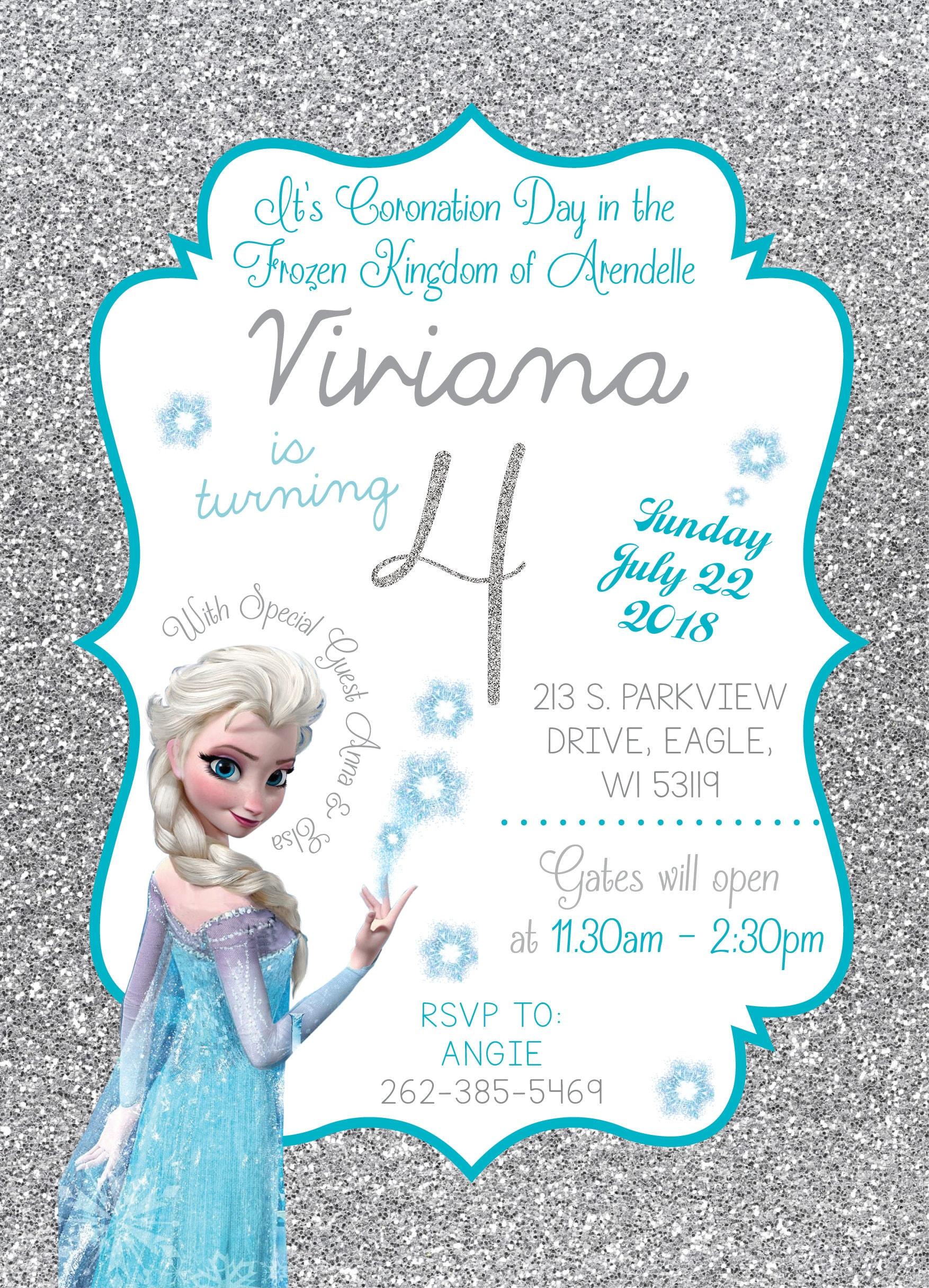 Disney Frozen birthday party invitation Queen Elsa Anna   Etsy