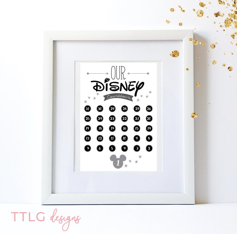 picture relating to Disney Countdown Calendar Printable called Printable Disney countdown calendar sheet Mickey Mouse silver glitter  Disneyland Disneyworld