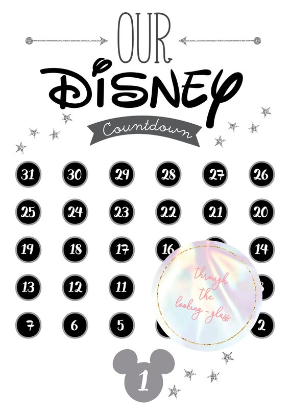 image about Disney Countdown Calendar Printable named Printable Disney countdown calendar sheet Mickey Mouse silver glitter  Disneyland Disneyworld