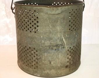 Galvanized Bucket with Wooden Handle. Urban Farmhouse Decor.  Industrial Vintage Metal Bucket. Primitive Rusty Chippy Rustic Antique.