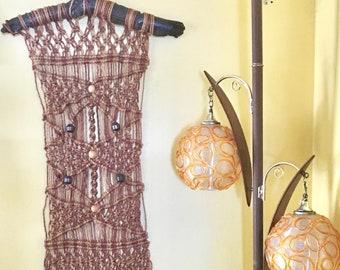 Vintage Macrame Wall Hanging Fiber Art Textile Art, Macrame Boho Wall Art on Fat Branch.