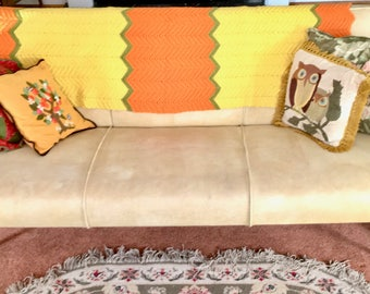 Vintage Crocheted Afghan Throw 70s Chevron Striped. Orange, Yellow, Avocado.
