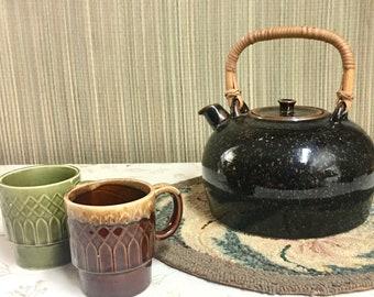 Stoneware Tea Kettle with Rattan Handle, Vintage Danish Modern Pottery Kettle, Dansk Vintage Teapot, Speckled Brown