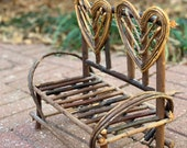 Vintage Doll Bench, Twig Doll Furniture with Hearts