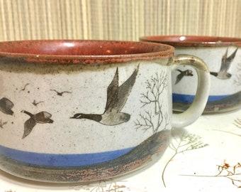 Stoneware Soup Mugs, Pair, Boho Kitchen, Geese in Flight