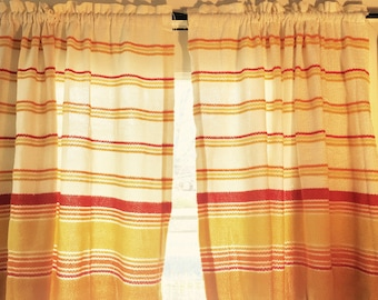 Vintage Cafe Curtain Panels. Pair Available. Orange, Yellow, and Bright. Stripes.