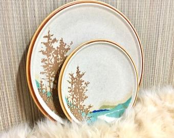 Boho Decor Boho Botanical Stoneware, Wall Art, Vintage Dishes, Plates with Trees and Rivers, Mikasa Stylekraft