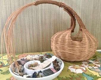 Unique Handmade Basket Hanging Basket Shelf Basket with Loose Fringed Reeds Vintage Shelf Sitter