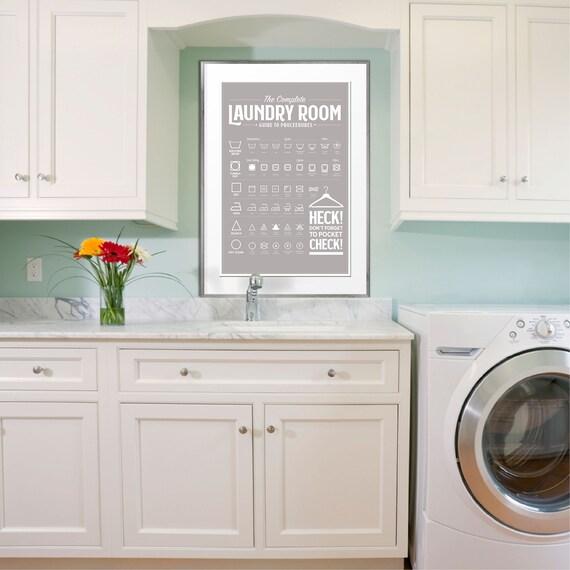 Grey Laundry Room Guide Print Laundry Room Decor Laundry Etsy