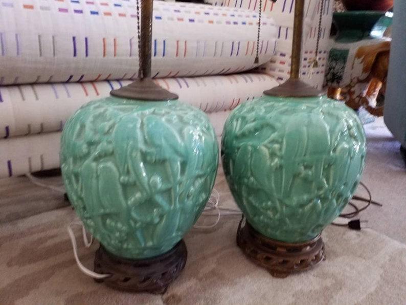 Stangl American Art Pottery Pair Lovebird Lamps 1940s Original Fittings Vintage Lighting