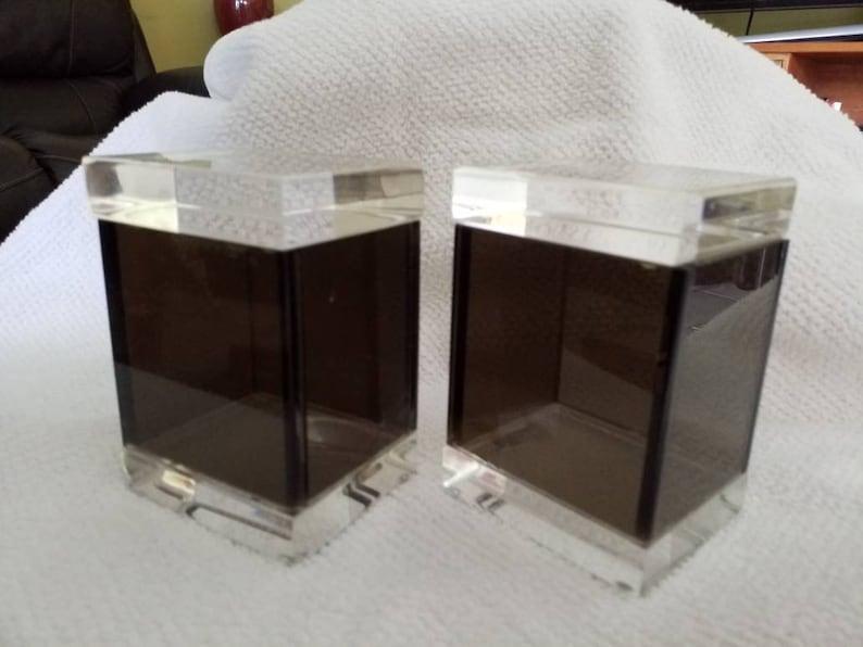 Albrizzi Lucite Pair Trinket Boxes Italy Black White Vintage 1980s Mid Century Modern Estate Fresh