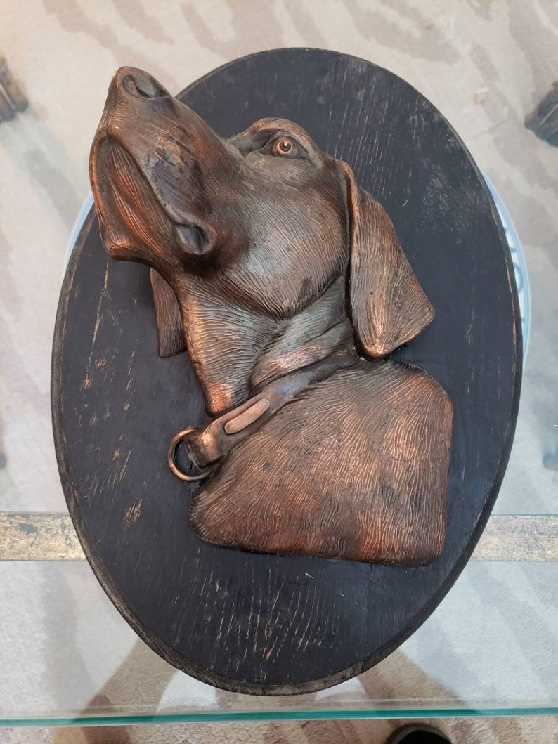 Hunting Hound Wall Plaque Copper Silhouette Dog Sportsman Outdoorsman Canine Antique 1900s