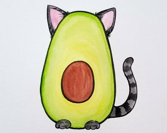 "Avocato Watercolor Painting // Handmade Painting // Avocado & Cat Lovers // 8x10"" Painting // Funny Art // Quirky Art // Birthday Gift Idea"