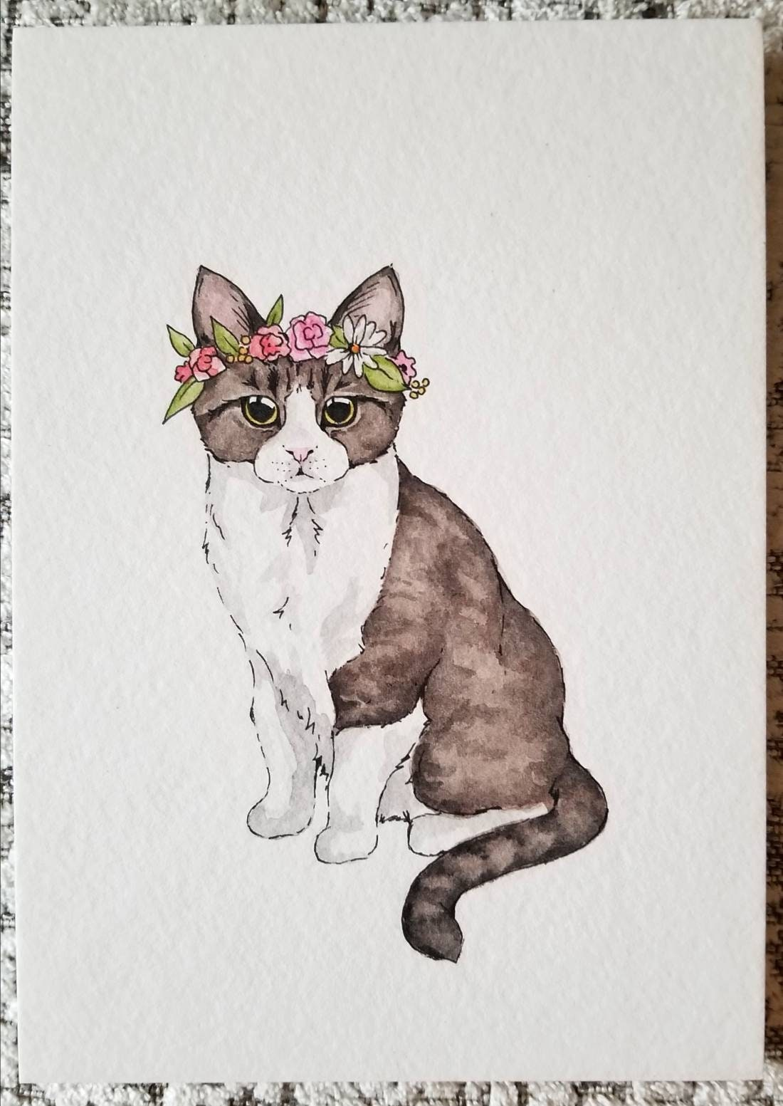 Custom Cat With Flower Crown Painting 5x7