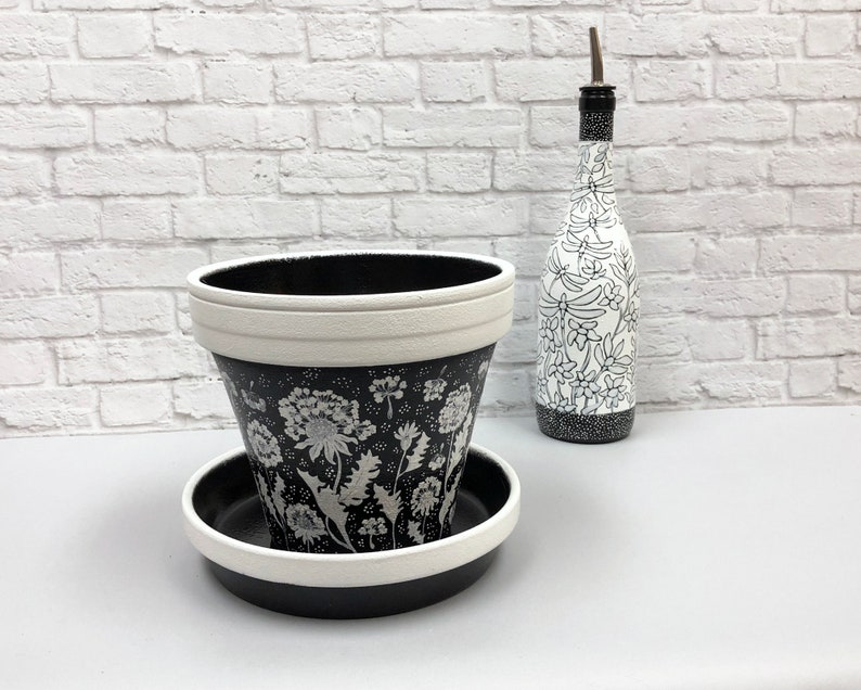 hand painted abstract dandelions Black and white floral terracotta pot
