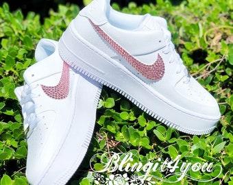 Swarovski Crystal Women Nike Air Force 1 Sage Low Shoes | Etsy