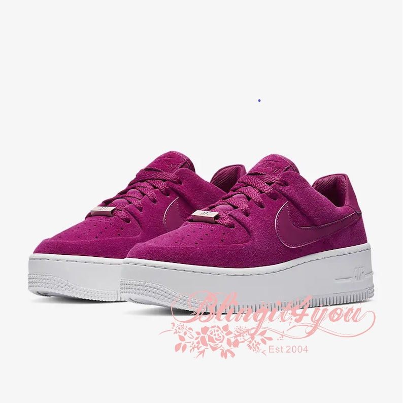 new products 7e211 b9573 Swarovski Crystal Dark Pink Berry Women Nike Air Force 1 Shoes Bedazzled  Nike Swooshes Rhinestone Bling Wedding Nike AF1 Gift idea for her