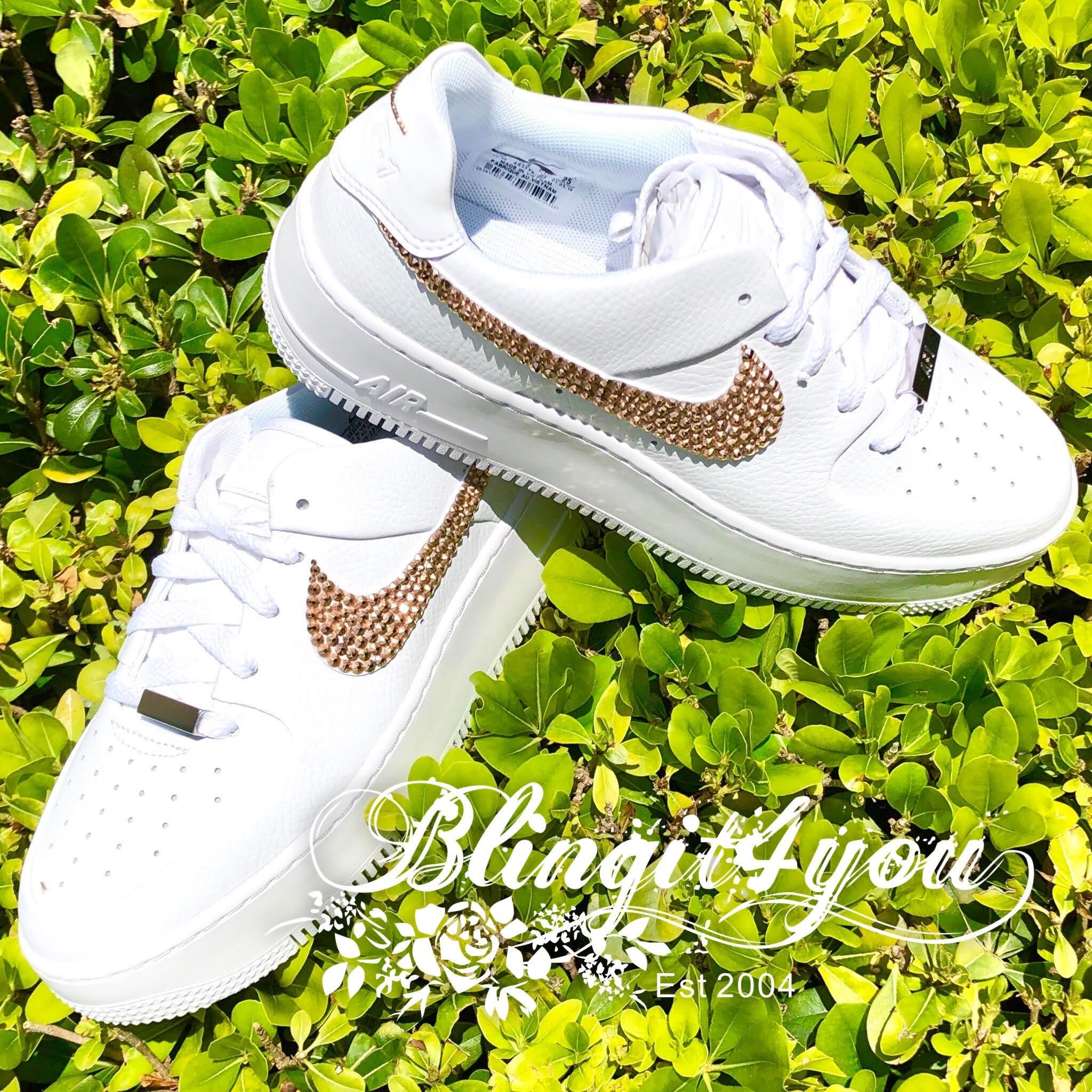 Rose Gold Swarovski Crystal Women Nike Air Force 1 Sage Low Shoes Bedazzled Nike Rhinestone Bling Nike AF1 Bling Wedding Dancing Shoes