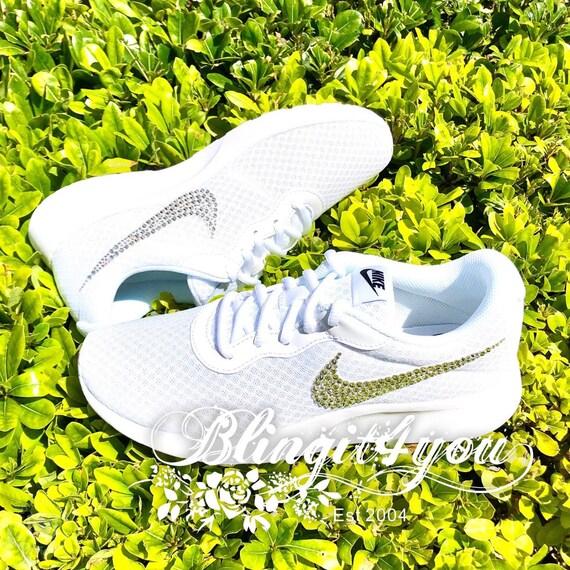 Bling White Nike Tanjun Shoes Swarovski Crystals Nike RN shoes Bling clear crystal Swooshes Bedazzled Shoes Bling Wedding Dancing Shoes Nike
