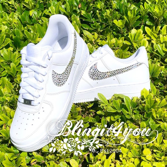 Details about Bling Nike Ebernon Low Women's Shoes with Swarovski Crystal Swoosh All White