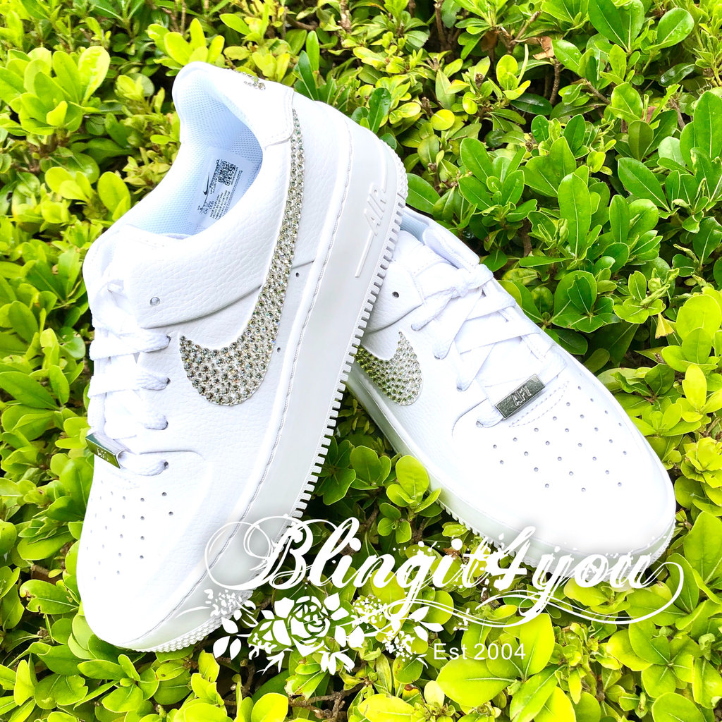 Swarovski Crystal Women Nike Air Force 1 Sage Low Shoes Bedazzled ...