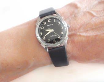 Mid Century Benrus Watch - 3051 Series - 17j - Arabic Numerals - Fancy Lugs - Stainless Steel - Waterproof - Shock Proof - Dust Proof - Box