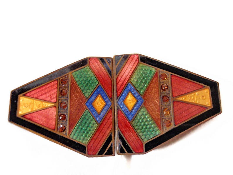 Art Deco Guilloche Enamel Belt Buckle 1920/'s Art Deco Multi Color Enamel Hat Band or Brooch Gift for Her