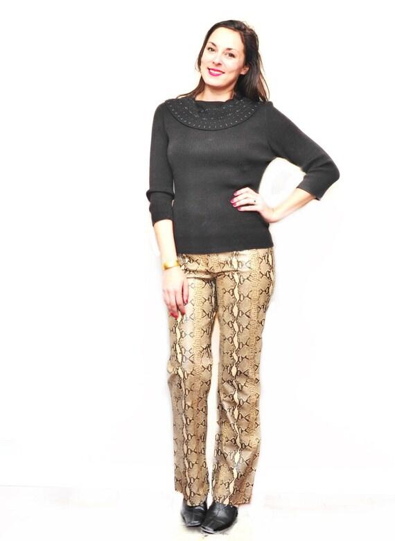 Ladies Snake Skin Leather Pants - Designer Womens… - image 1