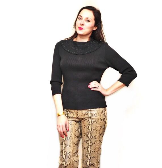 Ladies Snake Skin Leather Pants - Designer Womens… - image 2