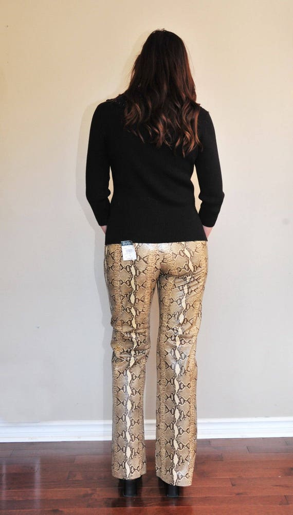 Ladies Snake Skin Leather Pants - Designer Womens… - image 4