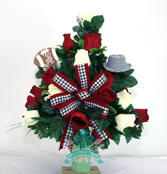 Alabama Crimson Tide Fan Vase Cemetery Flower Arrangement Etsy