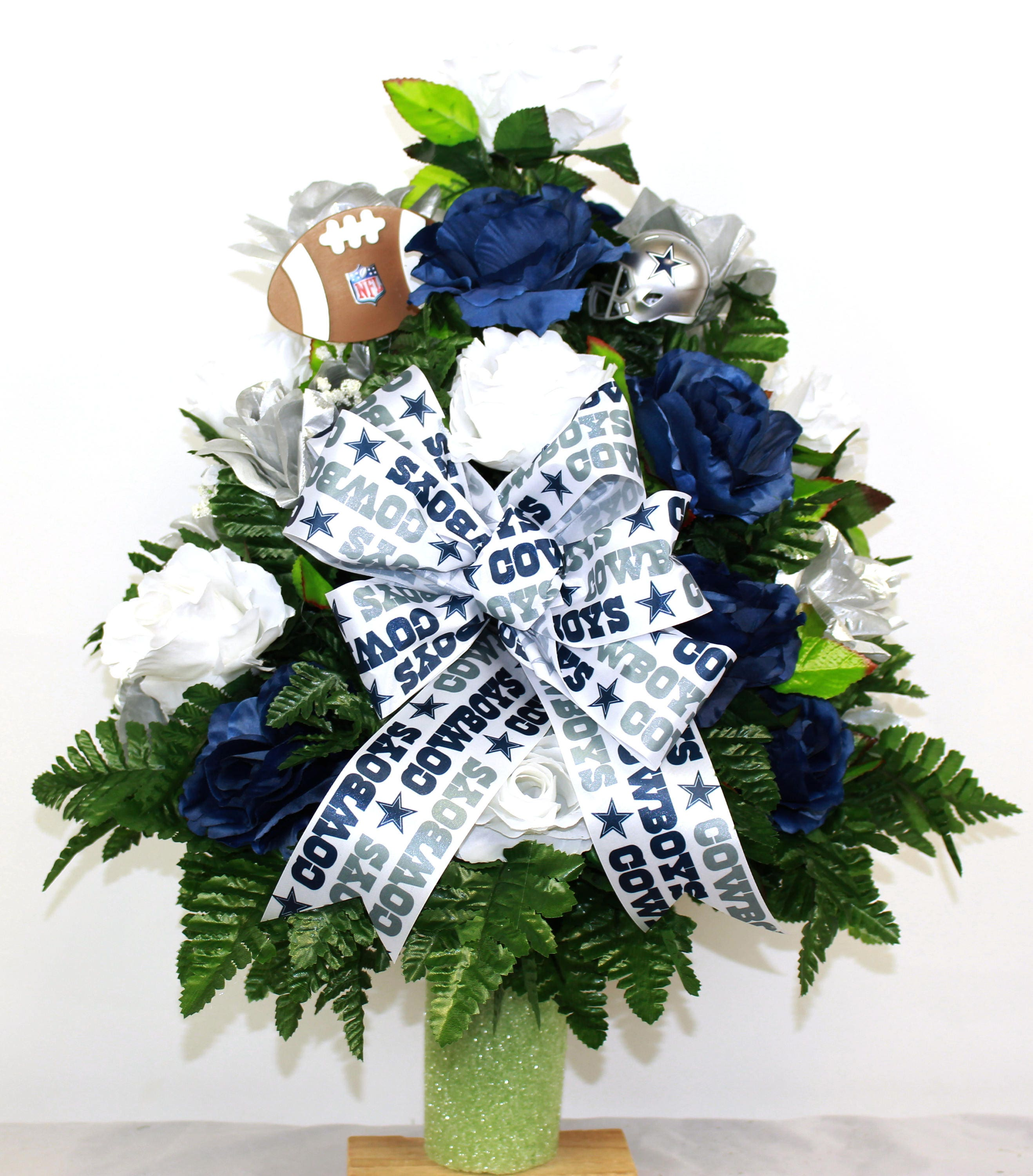 Dallas Cowboy Fan Vase Cemetery Flower Arrangement Etsy