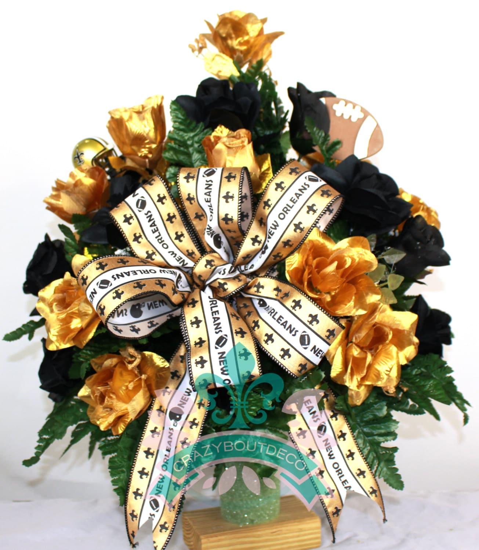 New Orleans Saints Fan Vase Cemetery Flower Arrangement Etsy