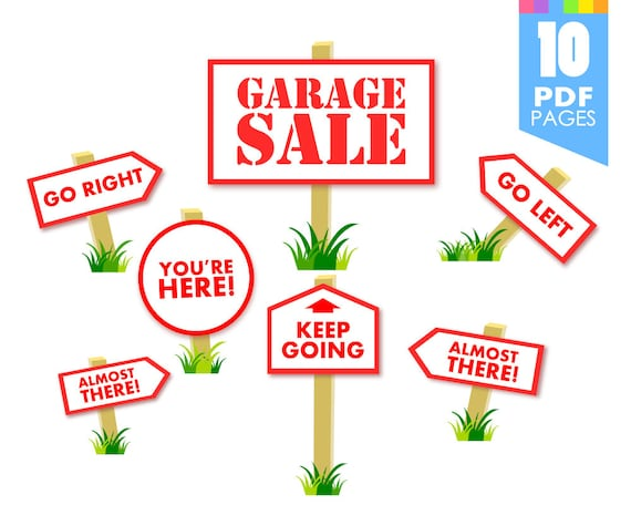 picture about Printable Yard Sale Signs identified as Garage Sale Indicators - Printable template with large good quality PDF webpages Quick Obtain