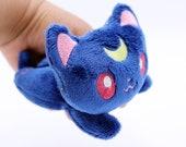 Preorder Beanie Sailor Moon Inspired Luna Diana Mini Cat Plush Handmade Kawaii Plushie (Navy Blue) Made to Order
