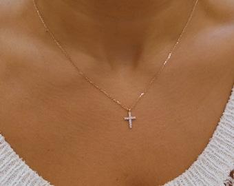 Diamond cross necklace 14k gold diamond cross small etsy diamond cross necklace 14k gold diamond cross dainty diamond cross 14k rose gold cross religious gift communion baptism aloadofball Images