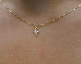cbed54b89 Diamond Cross Necklace / 14k Gold Cross Necklace / Dainty Diamond Cross / Mini  Diamond Cross/ Diamond Mini Cross / Gold Tiny Cross / Baptism