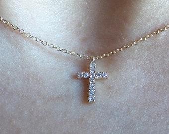 52106e1e73 Small Diamond Cross Necklace   Dainty Diamond Cross   14k Gold Diamond Cross    Small Diamond Cross   Baptism Gift   Communion  Gold Diamond