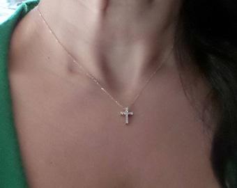 2e5a5a75d Diamond Cross Necklace/ 14k Gold Cross Pendant/ Diamond Cross Necklace/ Mini  Cross/ Dainty Cross Necklace/ Gold Cross/ Gift for Her/Birthday