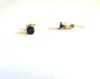 892e3d71b Black Sapphire Earrings / Sapphire Studs 14k / 14k Gold Sapphire Earrings /  September Birthstone / Genuine Gemstone / Push Back Studs