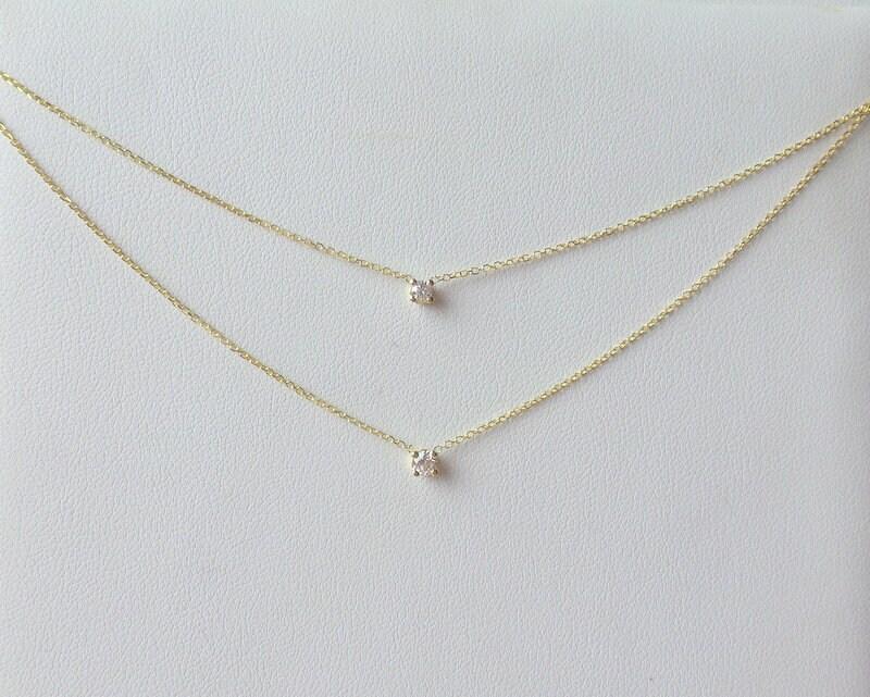 b5c0cf09830 14k Gold Diamond Solitaire Necklace   14k Gold Layered Diamond ...