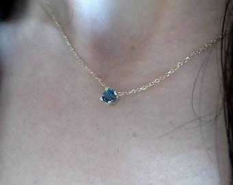 Blue Topaz Necklace/ 14k Gold Blue Topaz Necklace/ London Blue Topaz Necklace/ December Birthstone/ Dainty Blue Topaz Necklace/ BlueGemstone