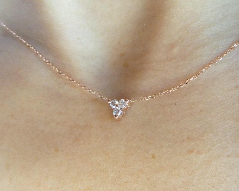 a66c6b6941ce5 Diamond Cluster Necklace 0.15cts / 14k Rose Gold Diamond ...